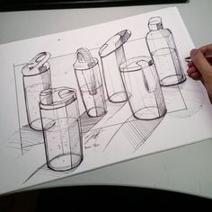 """""""Bottle sketches with bicpen Basic Sketching, Geometric Shapes Art, Creepy Drawings, Line Sketch, Object Drawing, Boat Art, Industrial Design Sketch, Car Design Sketch, Water Bottle Design"""