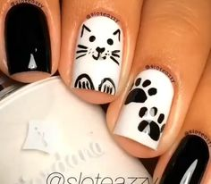Blk wht cat nails