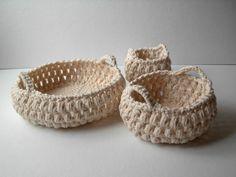 Ganchillo cestas con asas de algodón blanco Natural por LaceGiraffe