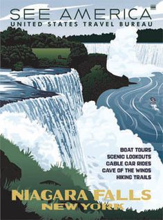 Niagara Falls as seen from the New York side. Part of our See America WPA-style travel poster series available at fordcraftsmanonline.com