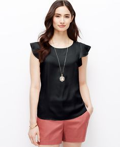 Primary Image of Petite Crepe Flutter Sleeve Top
