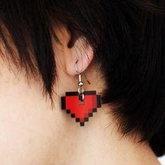 8-bit Heart Earrings by Shana Logic ($12)