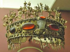 Treasures of the Sarmatians: Diadem  Sarmatian Gold Diadem with Garnet, Glass, Almandine, Pearls, and Turquoise; From the Khokhlach Burial Mound  (1st century AD, Hermitage Museum).