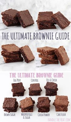 Learn what makes brownies chewy, fudgy, cakey etc with this AWESOME brownie guide! (Baking Tips Food Drink) Köstliche Desserts, Delicious Desserts, Dessert Recipes, Yummy Food, Brownie Guides, Brownie Recipes, Best Cake Brownie Recipe, Cakey Brownie Recipe, Yummy Treats