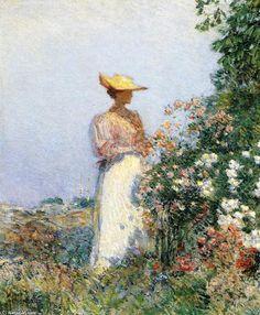 Lady in Flower Garden  1891 ~ Frederick Childe Hassam ~ (American 1859-1935)