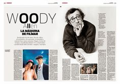 Editorial Design Magazine, Magazine Design Inspiration, Editorial Layout, Web Design, Page Design, Layout Design, Woody Allen, Newspaper Design Layout, Poster Art