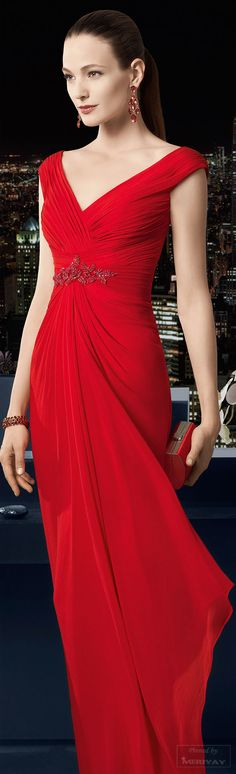 Rosa Clará 2015 ~ V Neck Evening Gown, Red