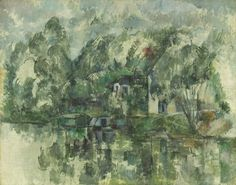 Paul Cézanne - At the Water's Edge, c. 1890. Oil on canvas, 28 7/10 × 36 2/5 in. (73 × 92.5 cm). National Gallery of Art, Washington, D.C., USA