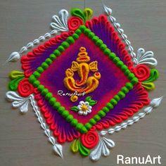 Simple Rangoli Border Designs, Easy Rangoli Designs Diwali, Rangoli Designs Latest, Rangoli Borders, Rangoli Designs Flower, Free Hand Rangoli Design, Rangoli Ideas, Diwali Rangoli, Rangoli Designs Images