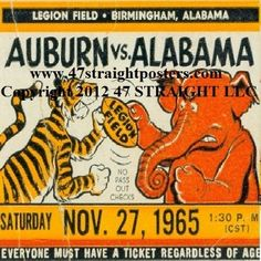 Football Gifts! Alabama football ticket drink coasters at http://www.shop.47straightposters.com/1965-Alabama-vs-Auburn-Football-Ticket-Coasters-65-AL.htm