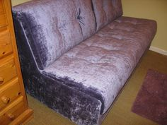 Zzziesta double sofa bed (140 cm x 195 cm mattress) without arms. Covered in J Brown Modena lilac crushed velvet.