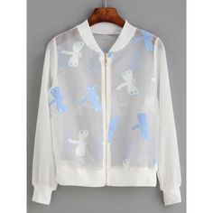 White Dragonfly Embroidered Organza Bomber Jacket (€18) ❤ liked on Polyvore featuring outerwear, jackets, white jacket, embroidered bomber jacket, embroidered jacket, stand up collar jacket and short-sleeve jackets