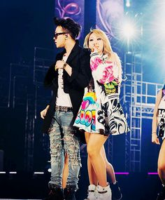 YG Family Power concert 2014 in Osaka | 권지용 & 이채린 G-Dragon & CL | on CL: Gerlan Jeans S/S '14 jacket and skirt