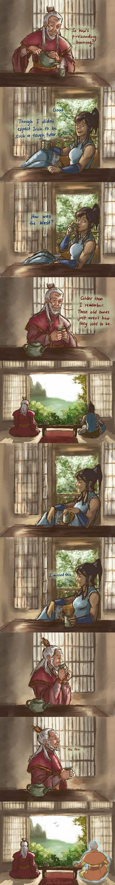 I missed this ... Avatar Kora having tea with Zuko  ≈Avatar The Last Airbender≈ ≈Legend of Korra≈