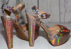 """Wild Diva Lounge Sz 7 Gold Metallic Multi 6"""" Heels Open Toe Ankle Strap NEW    eBay"""