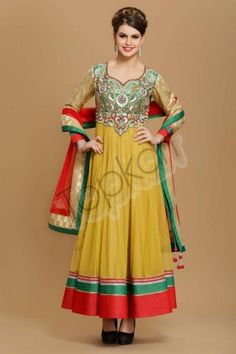 BEIGE POLYESTER LONG ANARKALI CHURIDAR SUIT Design No. 1539 Price. 6,770 Dress Type: Anarkali Churidar suit Fabric: Polyester Colour: Beige Embellishments: Zari, resham, naski, dabka & zircon embroidery For More Details Visit Here @ http://www.topkart.in/salwar-kameez/anarkali-suits/beige-polyester-long-anarkali-churidar-suit.html