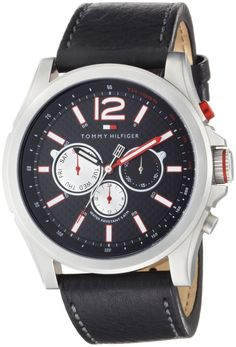 Tommy Hilfiger Men's 1790729 Subdial Stainless Steel and Black Leather Strap Watch * More info could be found at the image url.