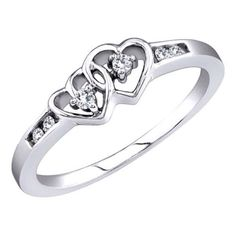 cttw White Gold Diamond Double Heart Promise Ring, Channel Set Band Custom Made In America (Real Diamonds: cttw, Ring Sizes Beautiful Promise Rings, Heart Promise Rings, Diamond Promise Rings, Diamond Heart, Heart Rings, Heart Jewelry, Jewelry Gifts, Engagement Ring Types, Diamond Tops