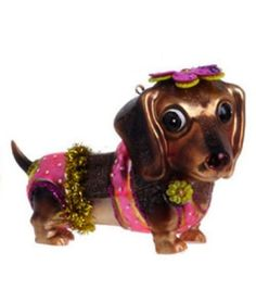 "4"" Dachshund Wearing Bikini Whimsical Glass Christmas Ornament $11.88"