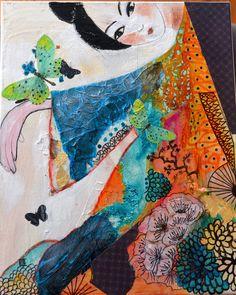 contemporary art modern painting geisha mixed by cyanepaintings