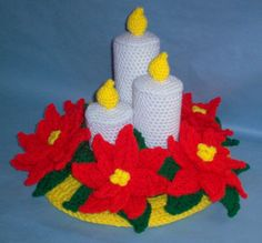 PDF Crochet patterns only. Christmas Decoration about 15/37.5cm wide by 11/27.5cm tall. Easy to make. Make in colors shown or match your own decor. Made using 4-ply yarns.