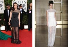Get the Look: If you liked the sheer neckline and long sheer skirt of Rachel Weisz's Louis Vuitton frock at the Golden Globes, you'll love this Douglas Hannant dress with a similar sheer silhouette