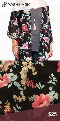 Torrid 2/3 EUC floral & lace kimono chiffon 🌺 Torrid 2/3 EUC floral & lace kimono chiffon 🌺 beautiful.  Like new. Size 2. However could easily be worn as a 3. Many colors.  Layer w many color choices.. great spring choice!!! torrid Sweaters Shrugs & Ponchos