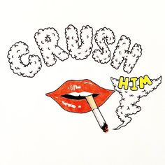 """CRUSH HIM"" #doodles #artistsofinstagram #artist #lips #sexy #cigarette #crush #him #smoke #prismamarkers #prismacolor #inking #gloss #lifeformdrawingclub #art #draweveryday #draw #drawing #inhale #keepdrawing #art🎨 #artwork #lipstick #lips💋"