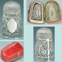 Antique English Sterling Silver Filigree Thimble in Case * C1800