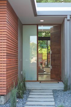The remarkable Modeco Residence In Los Altos Modern House Architects With Regard To Modern House Entrance Designs Exterior image below, … House Design, Wood Front Doors, Modern Exterior, House Entrance, House Front, Contemporary Front Doors, House Exterior, Wood Doors Interior, Front Door Design
