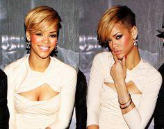 Rihanna's short hairstyle with undercut #hairstylesforblackwomen