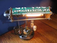 Machine Age Bankers Desk Lamp Upcycled Industrial Steampunk Art