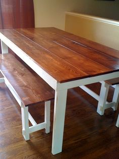 Build a stylish kitchen table with these free farmhouse table plans. They come in a variety of styles and sizes so you can build the perfect one for you. Farmhouse dining room table and Farm table plans. Furniture Projects, Furniture Plans, Rustic Furniture, Home Projects, Diy Furniture, European Furniture, White Furniture, Modern Furniture, Outdoor Furniture