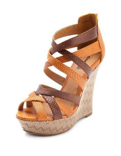 Strappy Snakeskin Zigzag Wedge