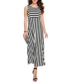 Meaneor Damen Ärmellos Maxikleid Strandkleid Sommerkleid Gestreiftes Kleid  Bodenlang Rundhals Casual Schwarz Weiß Gr.S 87620a41bb