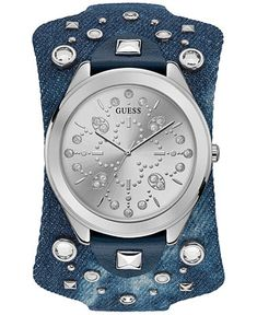 9f9b6b24dd78b GUESS Women s Blue Leather Cuff Strap Watch 44.5mm   Reviews - Watches -  Jewelry   Watches - Macy s