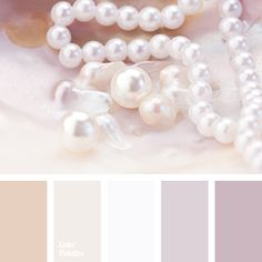 Delicate shades of pearls are simply made to create a romantic, gentle interior, filled with tranquility and comfort. This palette is perfect for a bedroom.