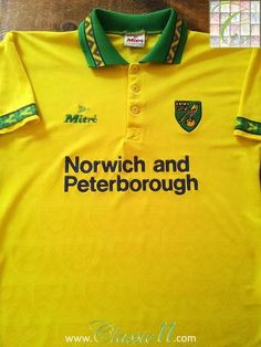 Relive Norwich City's season with this original Mitre home football shirt. Classic Football Shirts, Retro Football, Football Uniforms, Football Jerseys, Norwich City Football, Peterborough, How To Memorize Things, Soccer, Store