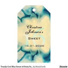 Trendy Cool Blue Sweet 16 Party Favors Thank You Pack Of Gift Tags
