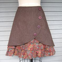 Woodland Wanderer ruffle front skirt Sz 12 by LoveToLoveYou.make ruffles longer but cute top Clothes Crafts, Sewing Clothes, Diy Mode, Sewing Projects, Sewing Ideas, Sewing Crafts, Cute Skirts, Diy Clothing, Vintage Cotton