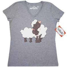 Inktastic Sheep Mom And Baby Women's V-Neck T-Shirt Lamb Adorable Cuddling Love Animals Farm Clothing Apparel Tees Adult, Size: XL, Grey