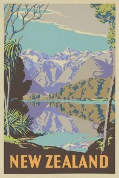 Sello: New Zealand (lake and mountains) (Nueva Zelanda) (Classic Travel Posters) Mi:NZ 3478 Retro Poster, Vintage Travel Posters, Vintage Postcards, Retro Print, New Zealand Lakes, New Zealand Travel, New Zealand Art, Poster Photo, Tourism Poster