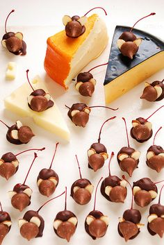 Chocolate Cherry Mice by omnomicon: For a rodent overrun, mix these with Chocolate Dipped Rats! http://pinterest.com/pin/321027553/  Thanks to @Paula Brooks! #Chocolate_Cherry_Mice #omnomicon