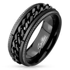 Ryker: Grooved Edge Chain Center Spinner Mens Ring 316 Stainless Steel Black Tone