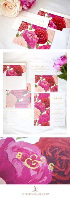 Elegant, Modern & Bold Floral Wedding Invitation & Stationery Set. Colorplan Bright White, printed with a pink, red and apricot rose design and finished with luxurious gold foil by www.paperbowlondon.com