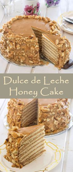 Honey Layer Cake (Medovik Cake) with Dulce de Leche is the perfect dessert for any family gathering! Honey Recipes, Baking Recipes, Sweet Recipes, Cake Recipes, Just Cakes, Cakes And More, Just Desserts, Delicious Desserts, Dessert Crepes