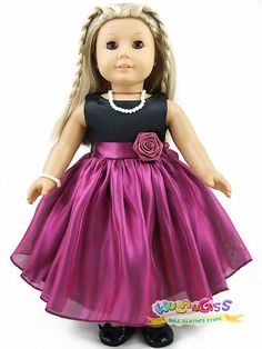 """Doll Clothes fits 18"""" American Girl Handmade Dark Red-Violet Party Dress"""