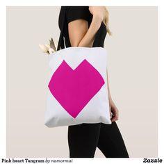 Pink heart Tangram Tote Bag