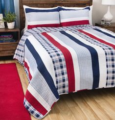 Quilt and Coverlet Nautical Set Queen/Full Bed Stripes Red White Blue 3 Pieces   Home & Garden, Bedding, Quilts, Bedspreads & Coverlets   eBay!
