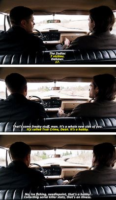 [gifset] The Executioner's Song #SPN #Dean #Sam i loved how they placed the camera in the back seat!